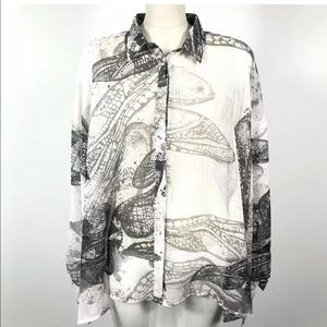 ❤️RELIGION Graphic semi sheer shirt oversize